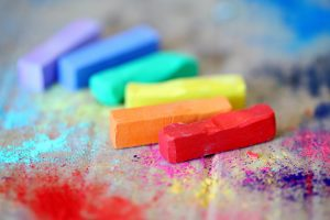 Brightly coloured crayons