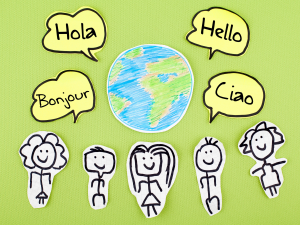 caroom images of people and the word 'hello' in different languages